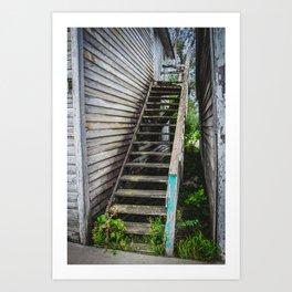 Rickety Stairs, False Front Building, Kathryn, North Dakota Art Print