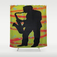 saxophone Shower Curtains featuring Saxophone Player by Jared Haberman