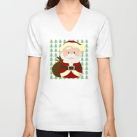 santa V-neck T-shirts featuring Santa by Alapapaju