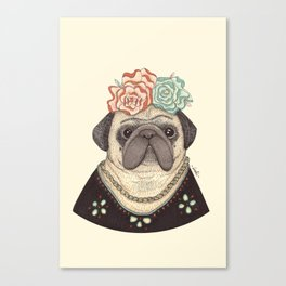 Frida Pug Kahlo Canvas Print