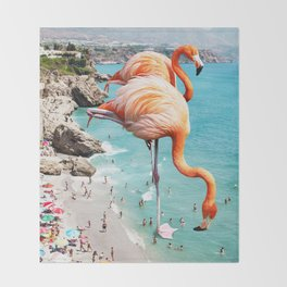 Flamingos on the Beach #society6 #decor #buyart Throw Blanket