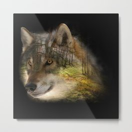 Wolf in the Forrest Metal Print