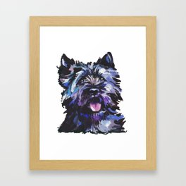 Fun Black Cairn Terrier bright colorful Pop Art Dog Portrait by LEA Framed Art Print