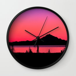 Pink Sunset Silhouette - Mt. Redoubt, Alaska Wall Clock