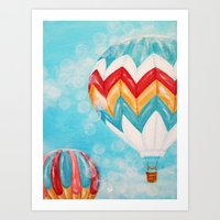 hot air balloons Art Prints featuring Hot Air Balloons #3 by Music of the Heart