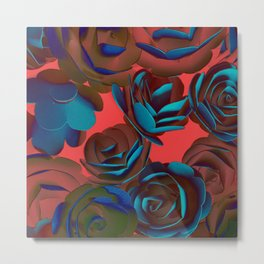 Exposed Red And Blue Roses Pattern Metal Print