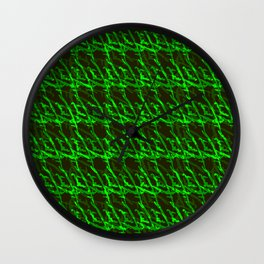 Braided geometric pattern of wire and light blue arrows on a dark background. Wall Clock