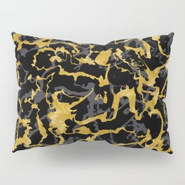 Wild Marble 8 - Black and Gold,Grey Pillow Sham