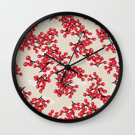 Accent on Red Berry Print Wall Clock
