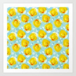 Rubber Ducks Bath Pattern Art Print