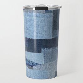 Boroboro Blue Jean Japanese Boro Inspired Patchwork Shibori Travel Mug