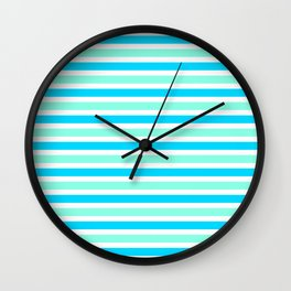 Cyan and Turquoise Stripes Wall Clock