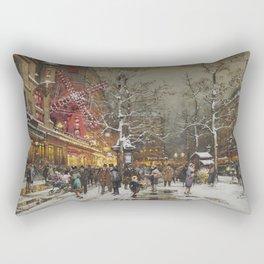 Le Moulin Caberet Sous la Neige, Paris, France by Eugene Galien Laloue Rectangular Pillow
