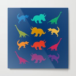 Dino Parade in Navy Blue Metal Print