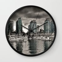 vancouver Wall Clocks featuring Vancouver Waterfront by Anthony M. Davis