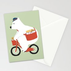 Polar bear postal express Stationery Cards