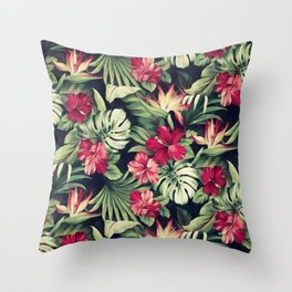 Night tropical garden Throw Pillow