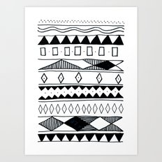 Rivers & Robots Pattern Art Print