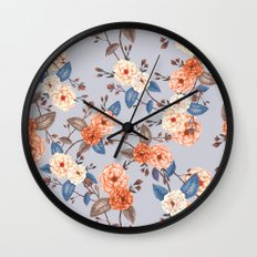 Roses, Auburn and Dove Grey Wall Clock