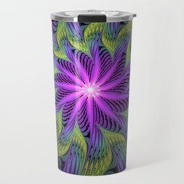 The Light from the Center, Fantasy Fractal Art Travel Mug