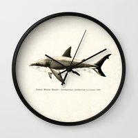 biology Wall Clocks featuring Carcharodon carcharias II ~ Great White Shark by Amber Marine