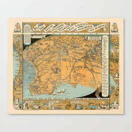 Map Of Los Angeles 1932 Canvas Print