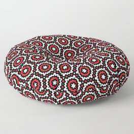 Red, Black and White Abstract Geometric Pattern Floor Pillow