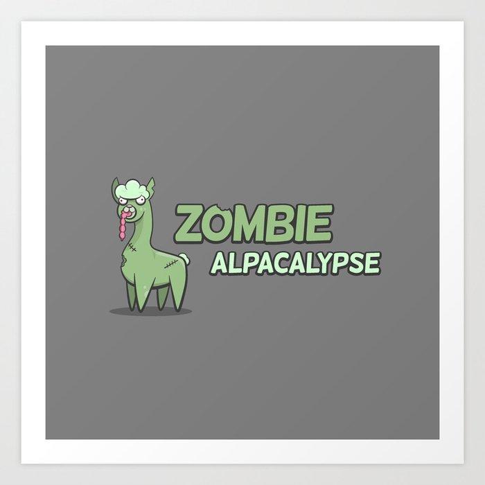 Zombie Alpacalypse Art Print