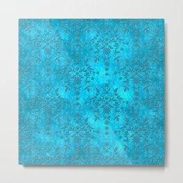 Bright Blue Floral Distressed Damask Pattern Metal Print