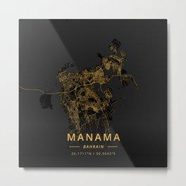 Manama, Bahrain - Gold Metal Print