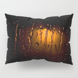 Rainy Night Rain Drops on Window Orange and Black Art Pillow Sham