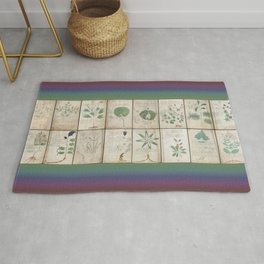 The Voynich Manuscript Quire 1 - Natural Rug