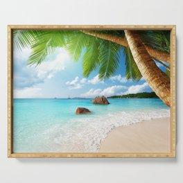 paradise ocean tropical blue palm beach coast sea emerald Serving Tray
