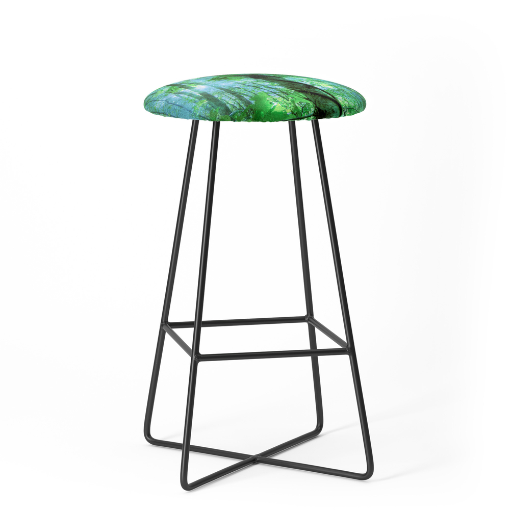 Forest Of The Fairies Green Blue Bar Stool by vintageby2sweet