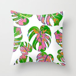 Botanical forest green pink coral watercolor tropical monster leaves Throw Pillow