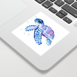 Blue Purple Sea Turtle, Turtle for nursery Sticker