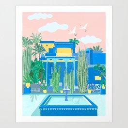 Blue house in Marrakech  Art Print