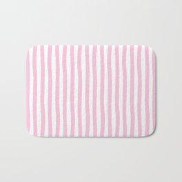 Pink and White Cabana Stripes Palm Beach Preppy Bath Mat