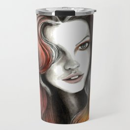 Red and Orange Flame Hair Travel Mug