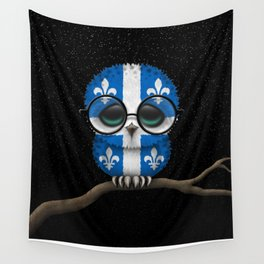 Baby Owl with Glasses and Quebec Flag Wall Tapestry