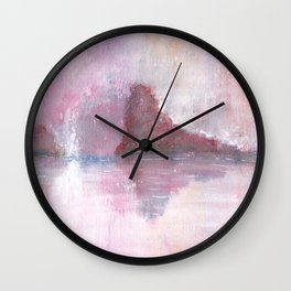Abstract Red Landscape Wall Clock