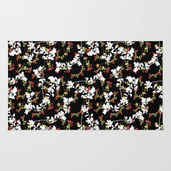 Dark Chinoiserie Floral Collage Pattern Rug