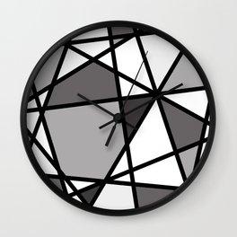 Triangels Geometric Lines dark grey  - grey - white Wall Clock