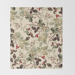 Vintage ivory red green forest berries floral Throw Blanket