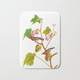 Bay Breasted Warbler John James Audubon Vintage Scientific Illustration American Birds Bath Mat