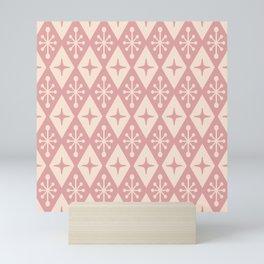 Mid Century Modern Atomic Triangle Pattern 711 Dusty Rose Mini Art Print