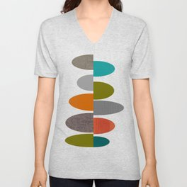 Mid-Century Modern Abstract Ovals Unisex V-Neck