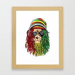 RASTA LION Rastafarian Jamaican reggae Music shirt Framed Art Print
