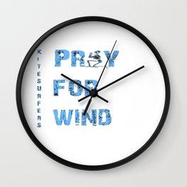Kiteboarding Humor Kneeling Skeleton Praying For Wind Wall Clock