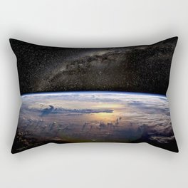 Space Station view of Planet Earth & Milky Way Galaxy Rectangular Pillow